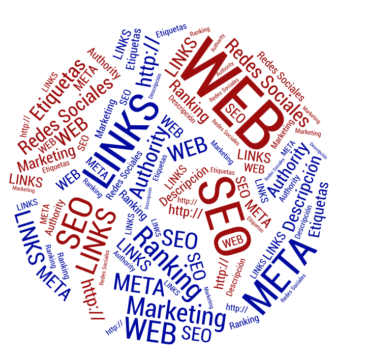 Nube de conceptos WEB: SEO, WEB, META, MARKETING, LINKS, Redes Sociales, Etiquetas, http://, ....